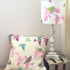 Shetland Starling 20cm Lampshades 1 in the pink and purple leaf and envelope style cushion  #Shetland #fairisle #birds #textiles #textiledesign #textileprint #handmade #home #digitalprint #lampshade #cushion #country #ornate #shabbychic