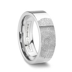 A truly one of a kind gift. Your actual fingerprint on his ring! Customizable Fingerprint Ring - Vday Gifts for Him. Fingerprint Wedding Bands, Fingerprint Jewelry, Cool Wedding Rings, Unique Wedding Bands, Wedding Stuff, Wedding Ideas, Engagement Rings For Men, Rose Gold Engagement Ring, Tungsten Wedding Bands