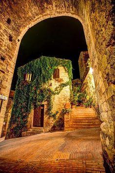 Cobblestone Pathways in Siena, Italy..