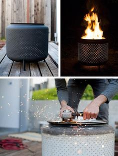 12 Easy and Cheap DIY Outdoor Fire Pit Ideas - The Handy Mano - - Give your garden something special for summer with a DIY fire pit. These outdoor fire pit ideas include designs for any size of garden, so get DIY-ing! Small Fire Pit, Cool Fire Pits, Diy Fire Pit, Fire Pit Backyard, Backyard Seating, Backyard Landscaping, Backyard Ideas, Cheap Fire Pit, Fire Pit With Rocks
