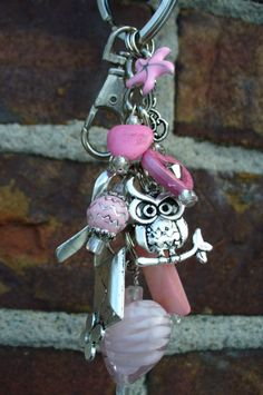 Hearts and Owl Keychain