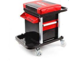 Mechanic Rolling Creeper Stool Storage Seat Tool Chest Chair Garage Rack #HYPERTOUGH