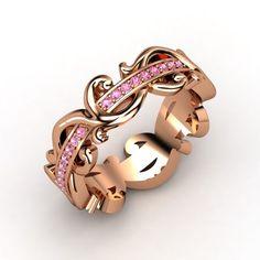 18K Rose Gold Ring with Pink Sapphire | Atlantis Eternity Band | Gemvara