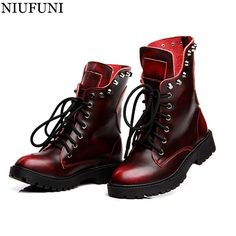 (69.32$)  Know more - http://aitlj.worlditems.win/all/product.php?id=32769613735 - NIUFUNI New Punk Boots Rivets Women Genuine Leather Motorcycle Female Martin Shoes Botte Femme Moto Sexy Black Red Bronze Bottes