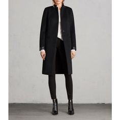 AllSaints Odile Coat (2.000 BRL) ❤ liked on Polyvore featuring outerwear, coats, genuine leather coat, leather-sleeve coats, real leather coats, stand collar coat and leather sleeve coat