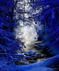 Blue snow, Finland.(I have doubts of the reality of the color but it's beautiful!)