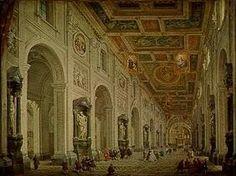 Interno della chiesa di San Giovanni in Laterano a Roma. Giovanni Paolo Pannini