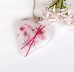 Cross My Heart Fused Glass Pendant   Fused by GreenhouseGlassworks, $20.00