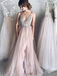 Sexy V-Neck Prom Dress, Beaded A Line Evening Dress,Sleeveless Tulle Party Dress,See Through Long Dress
