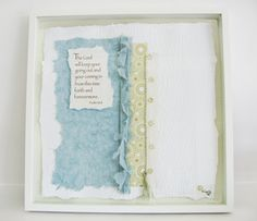 Promise Papers:  Psalm 121:8.  Custom 19 x 19 shadow box art - art papers, embroidery, 3D mounting