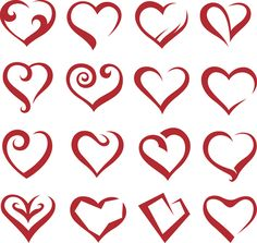 Set Of Sixteen Icons Of Hearts - Free Vector Site | Download Free Vector Art, Graphics
