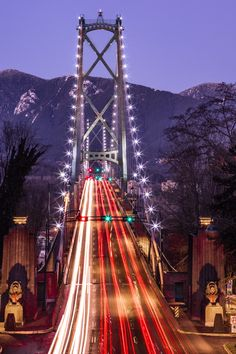 A long exposure of the Lions Gate Bridge in Vancouver, British Columbia. Image by Curator:… Lions Gate, Suspension Bridge, City Architecture, Long Exposure, Young And Beautiful, Winter Scenes, Golden Gate Bridge, British Columbia, Night Time
