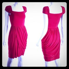 """Gorgeous BCBG MAXAZARIA """"Mikaela"""" Rio Red Dress XS  Flattering ruched styling.  Zipper on left side.  Hand washable.  Brand new with retail tags.  Never been worn.  Pet free / smoke free house.   No trades or paypal please.  I will consider all reasonable offers made via offer button.  BCBGMaxAzria Dresses"""