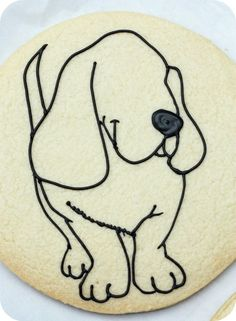 happy dog cookie outline