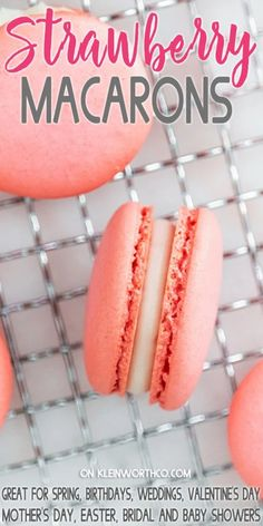 This Strawberry Macaron Recipe with strawberry filling is perfect for Valentine