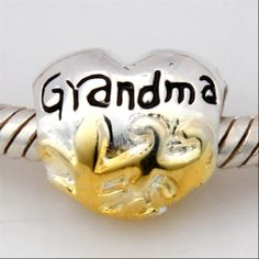 Maibey Silver Golden Love Grandma Heart Charm Bead Gifts For Nana Grandmother 40