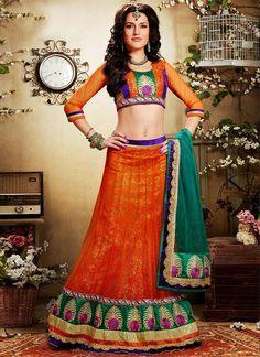 Lustrous Orange Applique #Net Designer Lhenga
