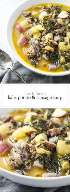 This Low Fodmap Kale, Potato & Sausage Soup recipe is sure to warm you up this winter! it's gluten free, dairy free and oh-so-comforting! The post Low FODMAP Kale, Potato, and Sausage Soup appeared first on Woman Casual - Food and drink Lunch Recipes, Soup Recipes, Diet Recipes, Cooking Recipes, Healthy Recipes, Healthy Soups, Chili Recipes, Recipes Dinner, Diet Tips