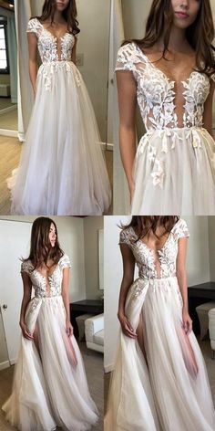 2018 fashions Prom dresses slit Formal Dress ivory lace Prom Dresses Sexy Summer tulle slit Evening Gowns