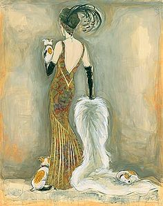 art deco dog pictures | ... TERRIER SCOTTIE DOG FINE ART PRINT - FASHION GLAMOUR LADY ART DECO