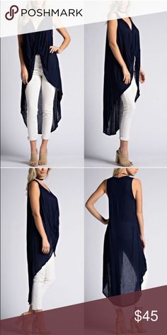 LASTJULLES twist front hi Lo top - NAVY Hi Lo Sleeveless top open front detailing. Fabric 100% Rayon.  NO TRADE  PRICE FIRM Bellanblue Tops Blouses