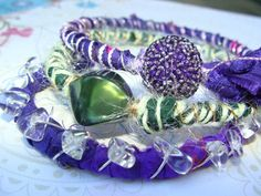 Arm Candy fiber art sari ribbon and wire by madhattresscreations