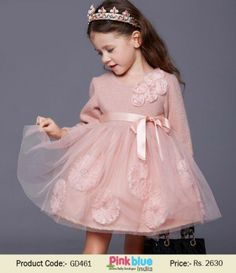 Full Sleeves Baby Girl Dress for Special Occasion | Classy Peach Party Dress in Floral Pattern | Designer Baby Dress for 1-6 Years Old Little Daughter