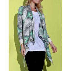 Casual Geometric Printed Long Sleeve Asymmetric Cardigan For Women