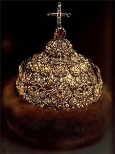 "Diamond Crown, 1682 — 1684  Gold, silver, precious stones, furs, molding, embossing, enamel  Height 28.3 cm circumference of 65 cm  State Historical and Cultural Museum-Preserve ""Moscow Kremlin"".  Belonged to Peter Alekseevich."