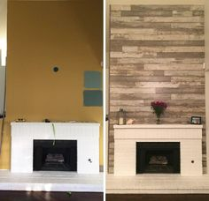 """Fireplace Makeover – with Dream Home Bull Barn Oak Laminate!   """"I wanted to cover the yellow fireplace wall when I moved into my new place and used barnwood flooring to create this look. I love it!"""" – Carolyn, CA"""
