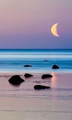 twilight ; shoreline ; crescent moon ; coast ; beach