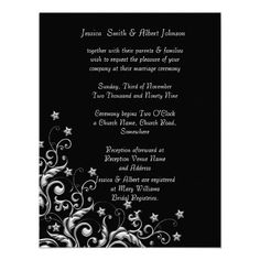 Silver Luxury Floral Swirls Wedding Invitation
