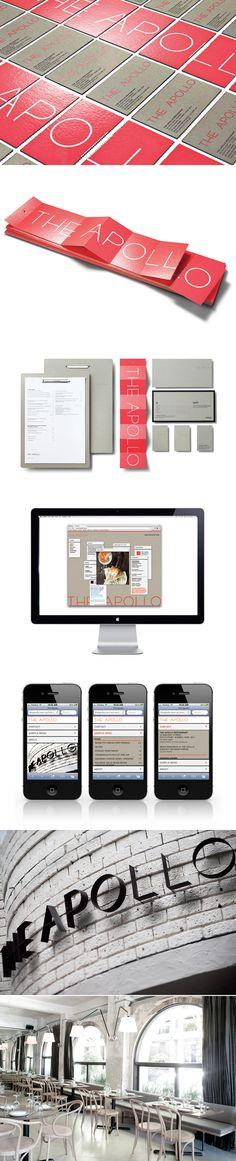 The Apollo Restaurant by Ascender  #brand #branding #identity #design #visual #graphic #logo #logotype #collateral #business #cards #menu #gift #certificate #card #kraft #paper #web #website #digital #mobile #responsive #kraft #organic #restaurant #dining #food #sydney #potts #point #sam #christie #jonathan #barthelmess #greek #rustic #bold #fluorescent #environmental #signage #metal #type #typography