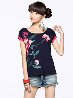 #Wholesale popular trendy womens embroidered t shirts    Only$10.00
