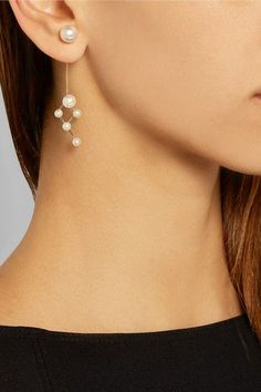 I think I could DIY a pair of earrings like this... - Sophie Bille Brahe   Dauphin 14-karat gold pearl earring   NET-A-PORTER.COM