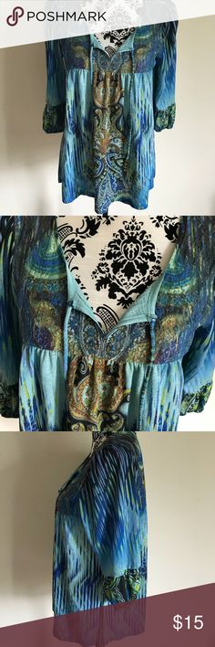 Live & Let Live Blouse Dark rich colors, spandex, polyester, small elastic band at hem of sleeves, ties at neck Live & Let Live Tops Blouses