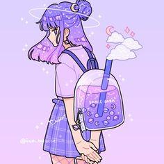 anime purple cute girl art by by fresh bobatae/Emily Kim December 03 2019 at fashion-inspo Doodles Kawaii, Cute Kawaii Drawings, Arte Do Kawaii, Kawaii Art, Anime Kawaii, Cute Art Styles, Cartoon Art Styles, Kawaii Wallpaper, Cartoon Wallpaper