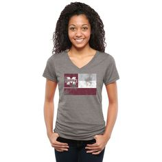 Mississippi State Bulldogs Women's State Flag Tri-Blend V-Neck T-Shirt - Ash
