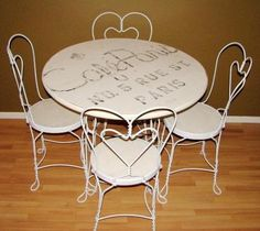 Vintage Ice Cream Parlor Table And Chairs Set In 2018 Antiques Pinterest Parlour