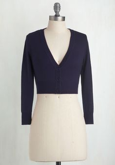 Plus Size Cropped Cardigan in Navy