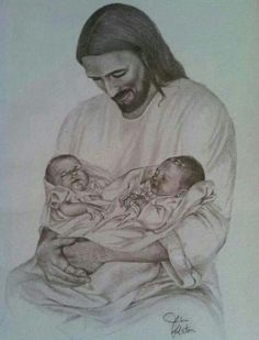 When grief is too strong to bare, closing my eyes I picture this. Jesus holding both of my babies. Pcos And Getting Pregnant, Pregnancy And Infant Loss, Stillborn, Child Loss, Twin Babies, Baby Twins, Baby Baby, Baby Girls, Angels In Heaven