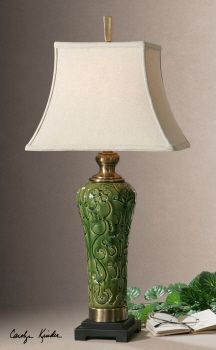 Love this green lamp base - so fresh.  Uttermost