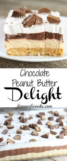 This No Bake Chocolate Peanut Butter Delight is the perfect layered dessert recipe for the chocolate peanut butter lovers in your life!
