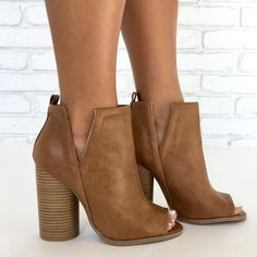 Giselle Peep Toe Booties in Tan - Sale! Up to 75% OFF! Shop at Stylizio for women's and men's designer handbags, luxury sunglasses, watches, jewelry, purses, wallets, clothes, underwear