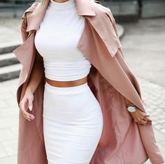 all white matching set with the perfect splash of blush with a trench coat
