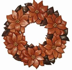 Poinsettia intarsia - My Wood Den Intarsia Woodworking, Woodworking Patterns, Woodworking Crafts, Intarsia Wood Patterns, Wooden Wreaths, Poinsettia Wreath, Wood Images, Wood Mosaic, Wood Creations