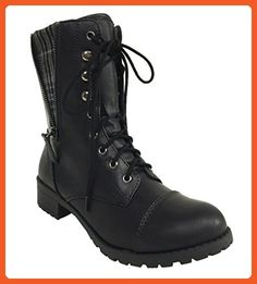 FOOTER! Women's Military Style Lug Sole Lace Up Mid-Calf Combat Boot - Boots for women (*Amazon Partner-Link)
