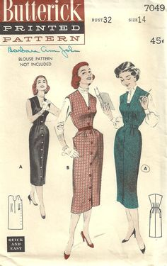 Hey, I found this really awesome Etsy listing at https://www.etsy.com/listing/157433929/butterick-7049-vintage-50s-sewing