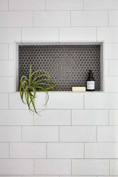Shower niche with large subway tile and penny tile. Shower niche with large subway tile and penny tile. Shower niche with large subway tile and penny tile.<br> Shower niche with large subway tile and penny tile. Shower Remodel, Bathroom Remodel Master, Bathroom Makeover, Bathroom Niche, Shower Niche, Decor Essentials, Bathroom Decor, Penny Tile, Bathroom Inspiration