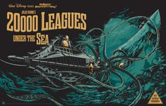 Check out this incredible Mondo Tees commissioned poster art for Disney's classic 1954 film Leagues Under the Sea. The poster was created by Ken Taylor Jules Verne, Omg Posters, Disney Posters, Theatre Posters, Music Posters, Theater, Mondo Tees, Rhys Cooper, The Sea Movie